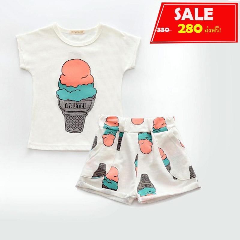 ชุดสาวน้อยเสื้อแขนสั้น+กางเกงขาสั้น #สกรีนลายไอติม#เหมาะกับซัมเมอร์ตอนนี้มาก มีสีขาว