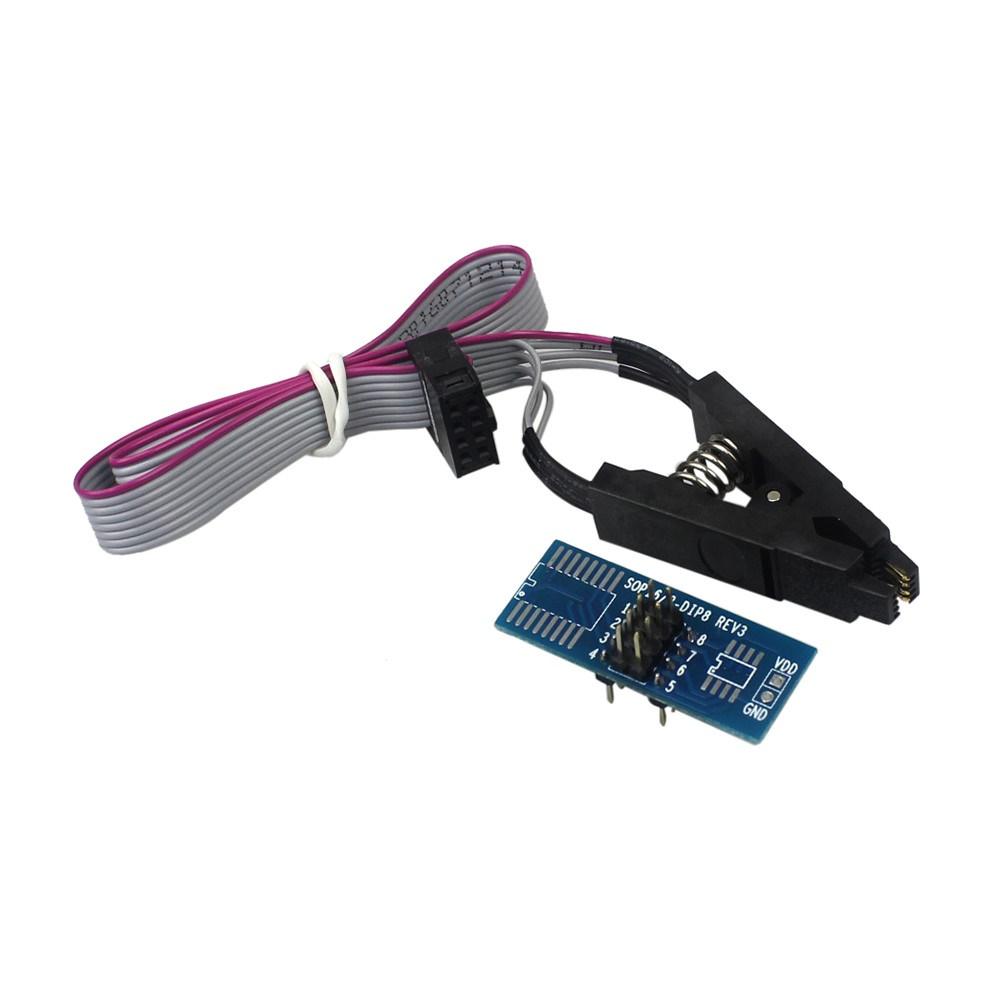 Programmer SOIC8 SOP8 Flash Chip IC Test Clips Socket Adapter BIOS/24/25/93