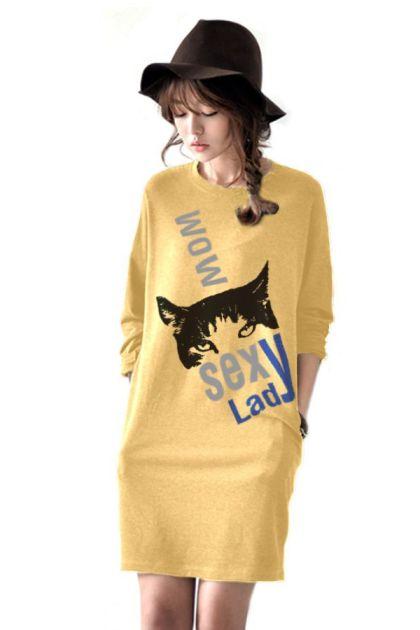 เสื้อยืดตัวยาว /แซกสั้น ผ้านุ่ม แขนยาว ลาย Fox (สีเหลือง)