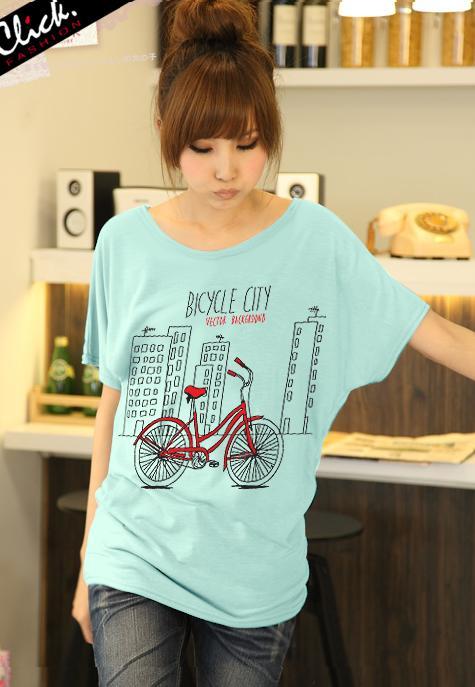 เสื้อยืดแฟชั่น ผ้านุ่ม ชายเสื้อดึงยาง ลาย Bicycle City สีเขียวมินท์