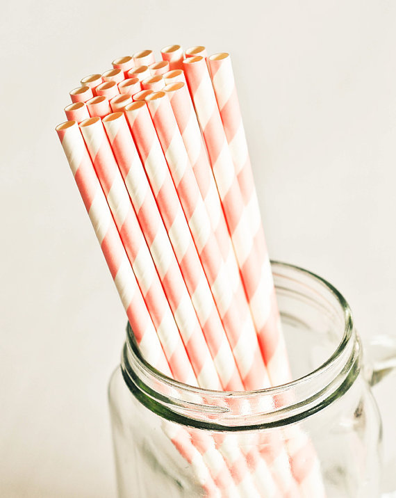Paper Straws in Baby Pink & White Stripes