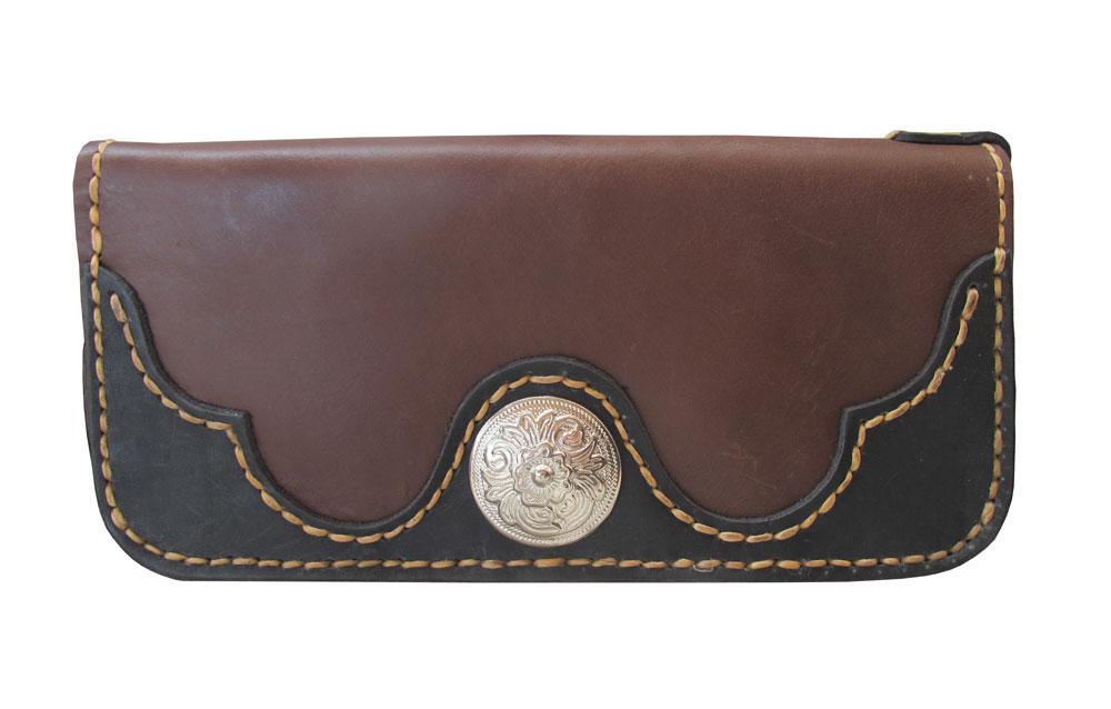 กระเป๋าสตางค์ยาว หนังวัวแท้ เกรด A สีน้ำตาลแดง แบบด้าน Styles vintage