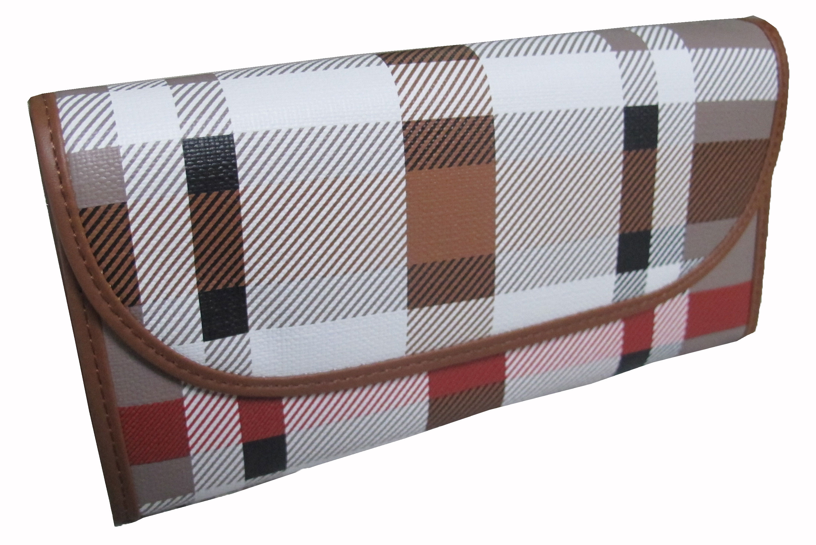กระเป๋าสตางค์ ทรงยาวลายสก็อตเป็นแบบ 3 พับ สีสันสวยหรู