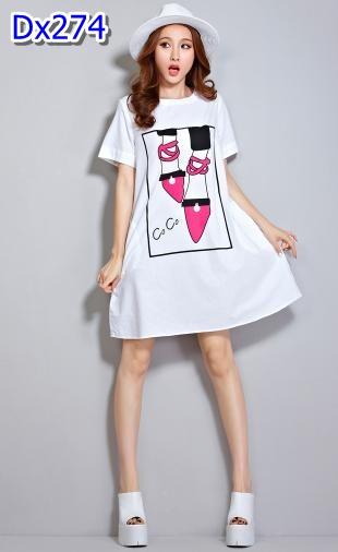 #Dressกระโปรงคลุมท้องแฟชั่น ผ้าฝ้ายสีขาว คอกลมแขนสั้น ลายรองเท้าCoCo มีกระเป๋าล้วง2ข้าง รูปทรงน่ารักใส่สบายมากๆคะ