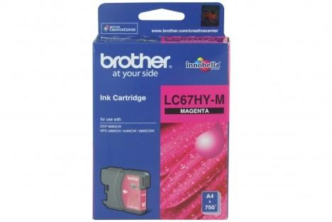 Brother LC-67HYM ตลับหมึกอิงค์เจ็ท สีม่วงแดง Magenta Original Ink Cartridge (ขนาดพิเศษ)