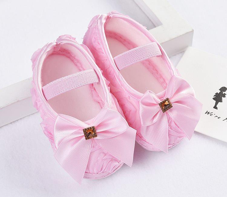 รองเท้าเด็กอ่อน 0-12เดือน รองเท้าเด็กชาย เด็กหญิง สีชมพูลายโบว์