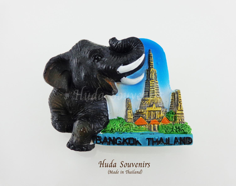 ของที่ระลึกไทย แม่เหล็กติดตู้เย็น ลวดลายช้างและวัดอรุณ วัสดุเรซิ่น ชิ้นงานปั้มลายเนื้อนูน ลงสีสวยงาม