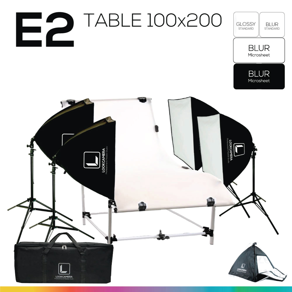 E2 STUDIO TABLE PACKSHOT โต๊ะถ่ายภาพสินค้าปรับองศา 100x200 ซม.