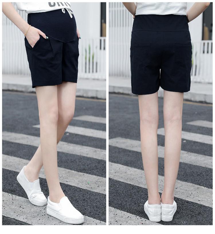 กางเกงขาสั้นพยุงท้องสีดำ เอวมีสายรูดปรับระดับได้ตามอายุครรภ์ ผ้ายืด ใส่สบาย น่ารักมากๆค่ะ