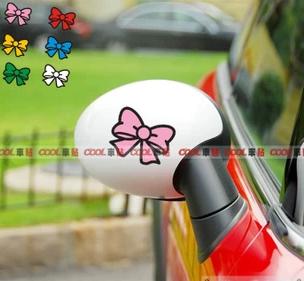 สติ๊กเกอร์ติดกระจกมองข้างรถ โบว์ชมพู (1Pack/2ชิ้น)