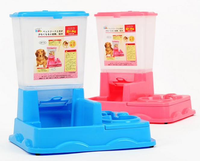 เครื่องให้อาหารสุนัข กึ่งอัตโนมัติ สีชมพู