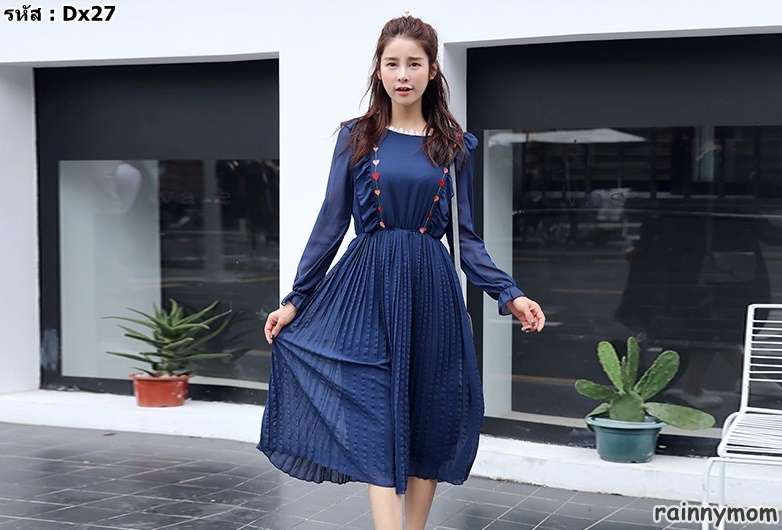#เดรสกระโปรงคลุมท้องแฟชั่น คอกลมแขนยาว สีน้ำเงิน ผ้าชีฟอง สไล์เกาหลีน่ารักมากค่ะ ผ้านิ่มใส่สบาย