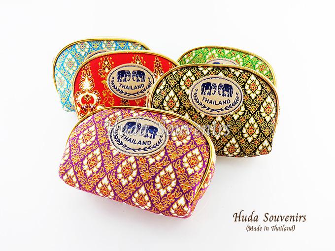 ของที่ระลึกไทย กระเป๋าผ้าลายไทย ขอบทอง (ขนาด: ขอบทอง S) ลายผ้าถุง หนึ่งโหลคละสี จำหน่ายยกโหล สินค้าพร้อมส่ง