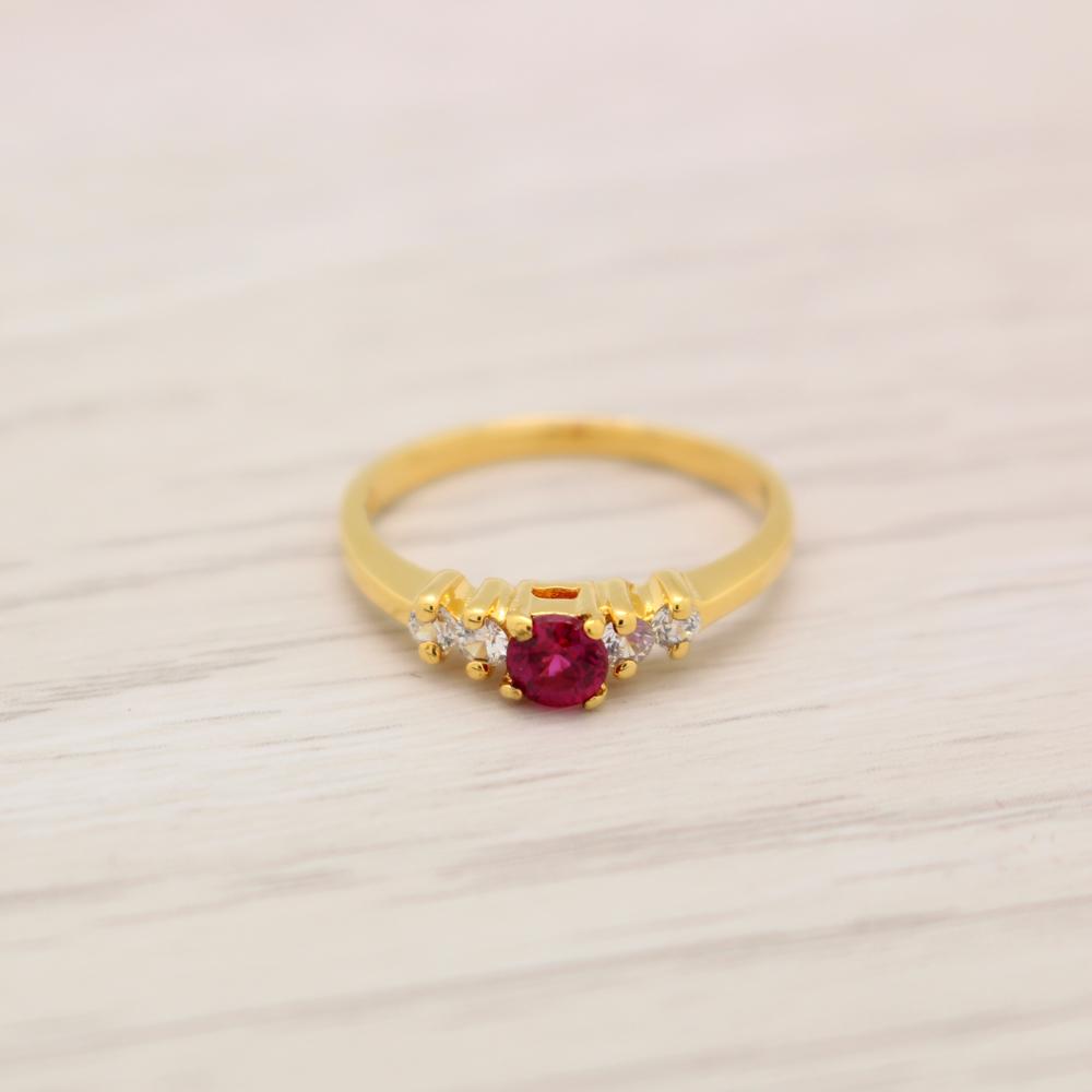 แหวนเพชรCZสีแดง ไซส์ 56