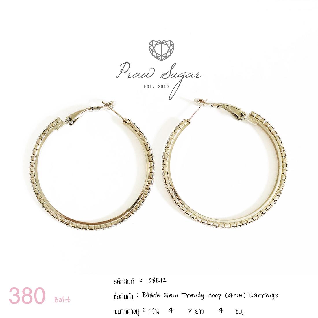 Black Gem Trendy Hoop (4cm) Earrings