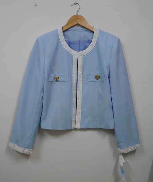 Su05 New!! สินค้ามือหนึ่ง ป้ายห้อย เสื้อสูทตัวสั้นสีฟ้า รอบอกเสื้อ 40 นิ้ว