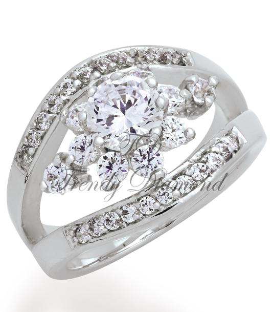 แหวนเพชรCZ เพชรสวิส แหวนหนีบพิกุล สีทองคำขาว