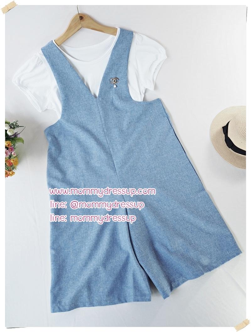 ชุดเซ็ตคลุมท้อง เสื้อยืดสีขาว + เอี้ยมกางเกงสีฟ้า มีซิปเปิดผ่าด้านหน้า ผ้านิ่ม ใส่สบาย งานดีน่ารักมากๆค่ะ