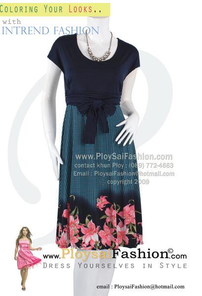 hd1811 - ชุดทำงาน ผ้าเกาหลีตัวเสื้อสีกรมพื้น ช่วงกระโปรงผ้าลายเชิงลายดอก ผ้าผูกเอวแยกชิ้น มีซับในทั้งตัว สวยๆใส่ดูดีค่ะ
