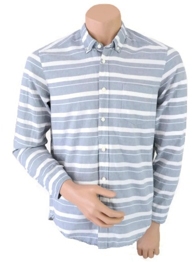 H&M Shirt Blue White Striped Size M
