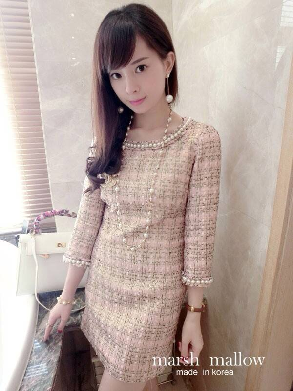 Pink Fragrant Pearl Beaded Dress