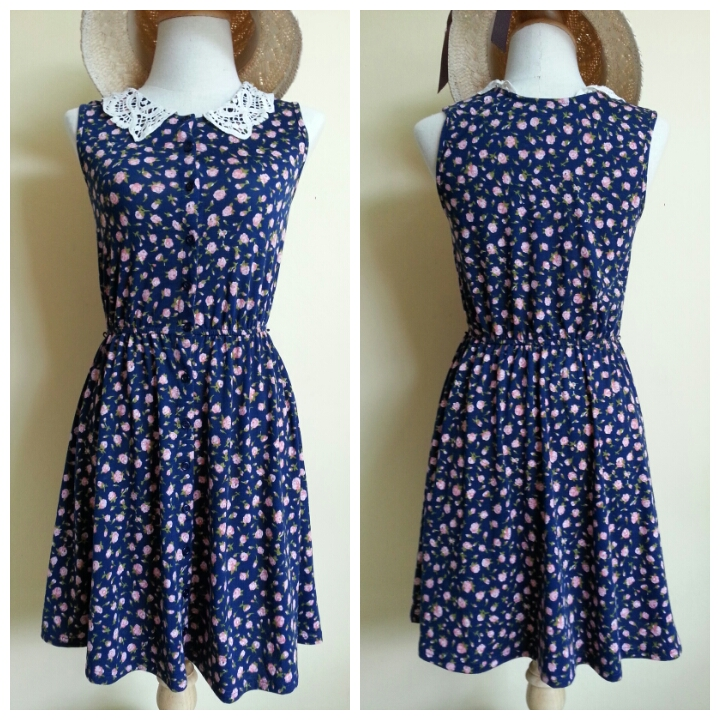 ASOS Floral Navy Skater Dress Size uk8