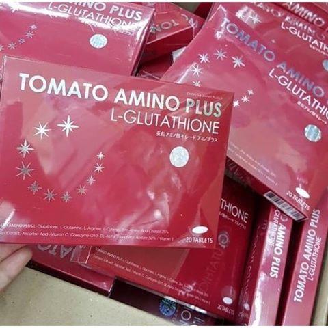 TOMATO AMINO PLUS L-GLUTATHIONE โทเมโท อะมิโน พลัส ผลิตภัณฑ์เสริมอาหาร มะเขือเทศสกัดเข้มข้น มีไลโคปินสูง