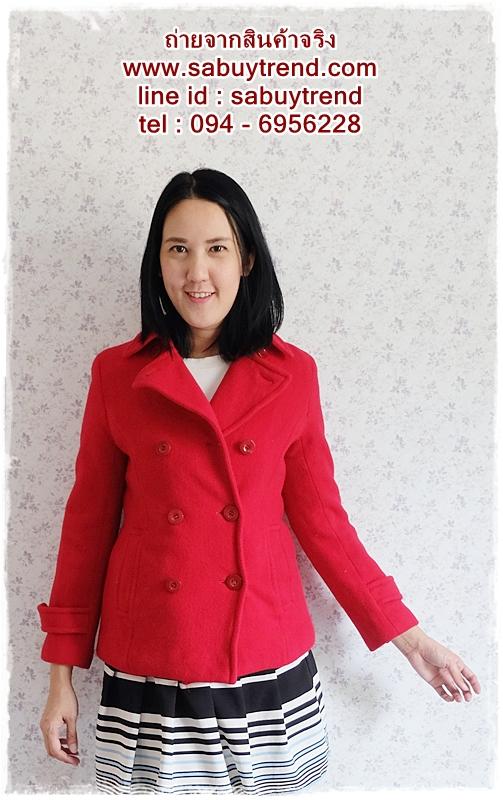 ((ขายแล้วครับ))((จองแล้วครับ))ca-2583 เสื้อโค้ทกันหนาวผ้าวูลสีแดง รอบอก34