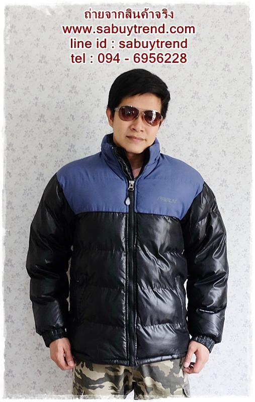 ((ขายแล้วครับ))cm-105 เสื้อแจ๊คเก็ตกันหนาวผ้าร่มสีดำ รอบอก46