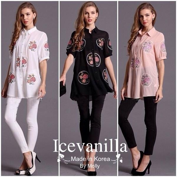 Ice Vanilla เสื้อเชิ้ตตัวยาวคอปก แต่งลายดอกกุหลาบ