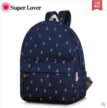 กระเป๋าเป้สะพายยี่ห้อ Superlover ดอกไม้สไตส์ญี่ปุ่นและเกาหลี รุ่นอัปเกรดมีกระเป๋าข้าง (Pre-Order)