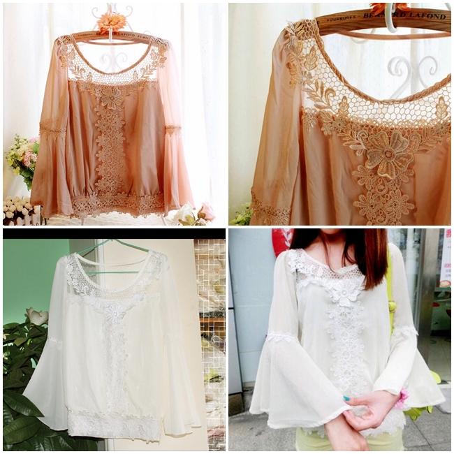 เสื้อเบลาซ์ Bell Sleeve with Flowery Lace